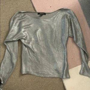 Silver off the shoulder sweater